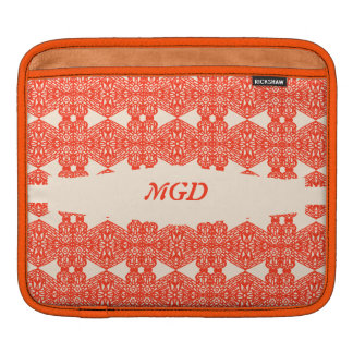 Vintage art nouveau monogram lace design in red iPad sleeve