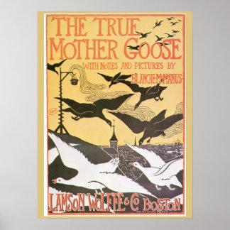 Vintage Art nouveau Mother Goose advert Poster