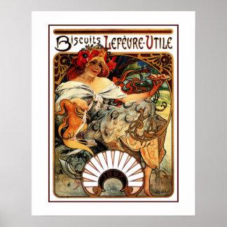 Vintage art nouveau Mucha cookies ad Poster