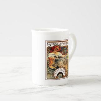 Vintage art nouveau Mucha cookies ad Tea Cup