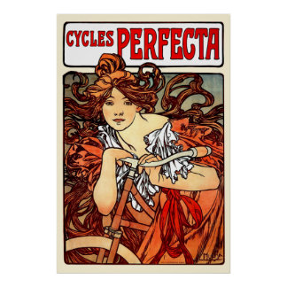 Vintage Art Nouveau Mucha Girl on Bicycle Poster