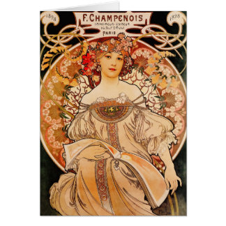 Vintage Art Nouveau Mucha Print Greeting Card