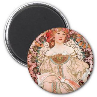Vintage Art Nouveau Mucha Print Magnet