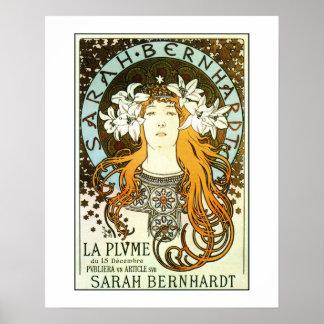Vintage art nouveau Mucha Sarah Bernhardt ad Poster