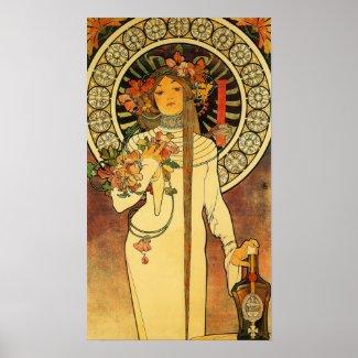 Vintage Art Nouveau Mucha Trappestine Poster