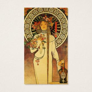 Vintage Art Nouveau Mucha Trappestine Poster Business Card