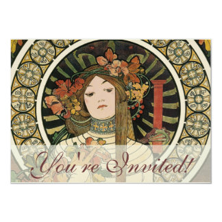 Vintage Art Nouveau Mucha Trappestine Poster 4.5x6.25 Paper Invitation Card