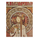 Vintage Art Nouveau Mucha Trappestine Poster Post Card