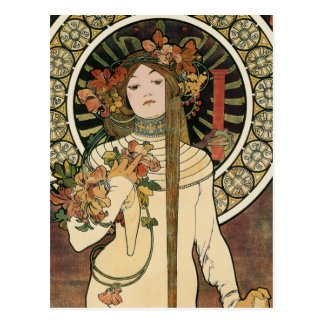 Vintage Art Nouveau Mucha Trappestine Poster Postcard