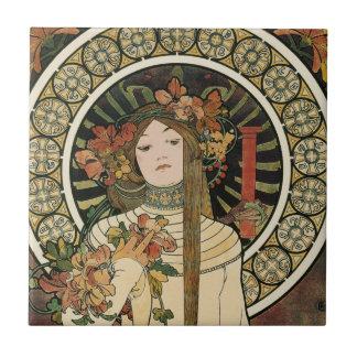Vintage Art Nouveau Mucha Trappestine Poster Tile