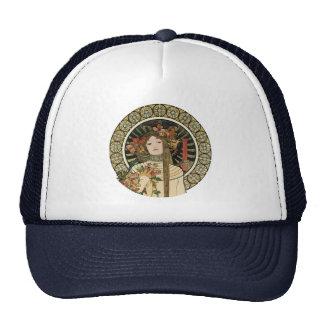 Vintage Art Nouveau Mucha Trappestine Poster Trucker Hat