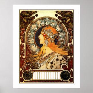 Vintage art nouveau Mucha Zodiac Posters