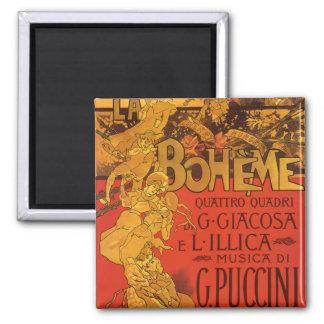 Vintage Art Nouveau Music, La Boheme Opera, 1896 2 Inch Square Magnet