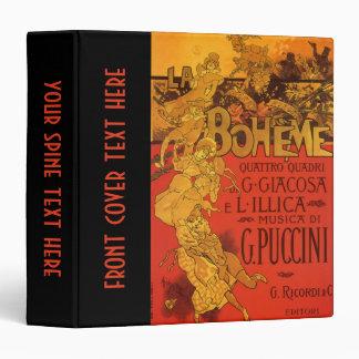 Vintage Art Nouveau Music, La Boheme Opera, 1896 3 Ring Binder