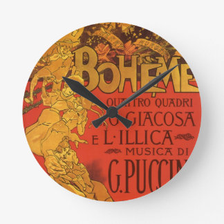Vintage Art Nouveau Music; La Boheme Opera, 1896 Wallclock