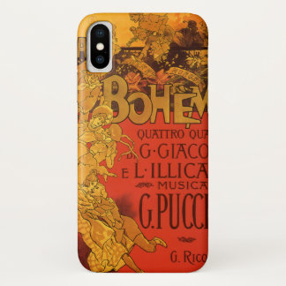 Vintage Art Nouveau Music, La Boheme Opera, 1896 iPhone X Case