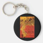 Vintage Art Nouveau Music; La Boheme Opera, 1896 Key Chain