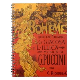 Vintage Art Nouveau Music, La Boheme Opera, 1896 Notebook