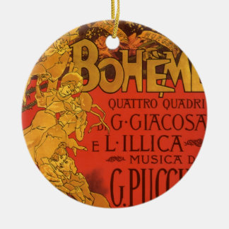 Vintage Art Nouveau Music, La Boheme Opera, 1896 Double-Sided Ceramic Round Christmas Ornament