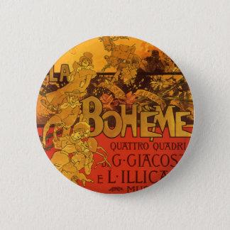 Vintage Art Nouveau Music, La Boheme Opera, 1896 Pinback Button