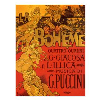 Vintage Art Nouveau Music; La Boheme Opera, 1896 Postcard