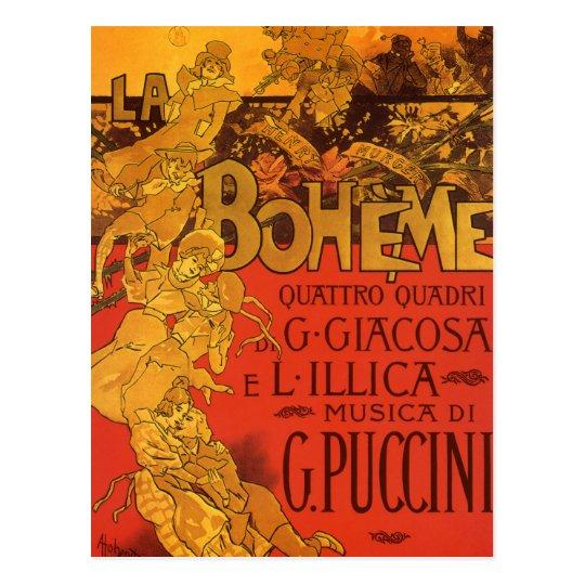 Vintage Art Nouveau Music, La Boheme Opera, 1896 Postcard