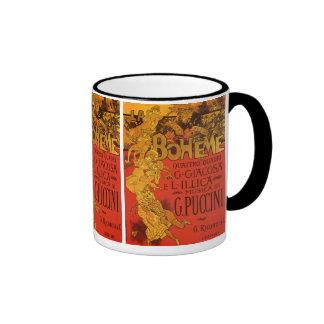 Vintage Art Nouveau Music, La Boheme Opera, 1896 Ringer Mug