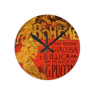 Vintage Art Nouveau Music, La Boheme Opera, 1896 Round Clock
