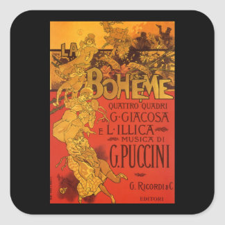 Vintage Art Nouveau Music, La Boheme Opera, 1896 Square Sticker