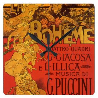 Vintage Art Nouveau Music, La Boheme Opera, 1896 Square Wall Clock