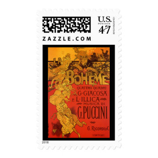 Vintage Art Nouveau Music, La Boheme Opera, 1896 Stamp