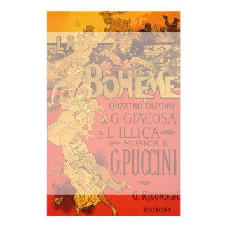Vintage Art Nouveau Music, La Boheme Opera, 1896 Stationery