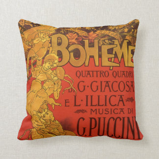 Vintage Art Nouveau Music, La Boheme Opera, 1896 Throw Pillow