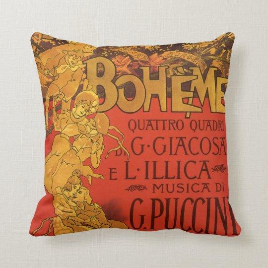 Vintage Art Nouveau Music, La Boheme Opera, 1896 Throw Pillow