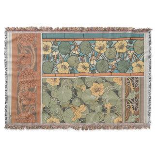 Vintage Art Nouveau Nasturtium Flower Floral Throw