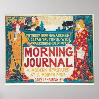 Vintage Art Nouveau new newspaper ad Poster