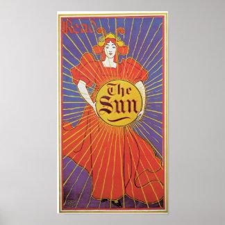 Vintage Art Nouveau New York Sun ad Poster