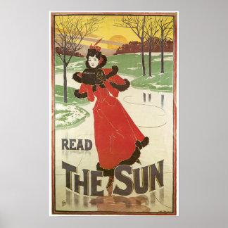 Vintage Art Nouveau New York Sun ad winter Poster