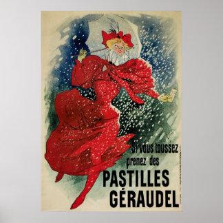 Vintage Art Nouveau Pastilles Geraudel Cough Drops Poster