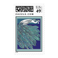 Vintage Art Nouveau Peacock Postage Stamp