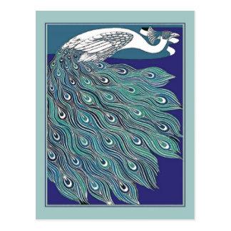 Vintage Art Nouveau Peacock Postcard