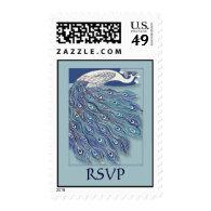 Vintage Art Nouveau Peacock RSVP Stamp