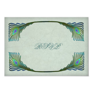 Vintage Art Nouveau Peacock Wedding RSVP Card