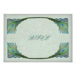 "Vintage Art Nouveau Peacock Wedding RSVP 3.5"" X 5"" Invitation Card"