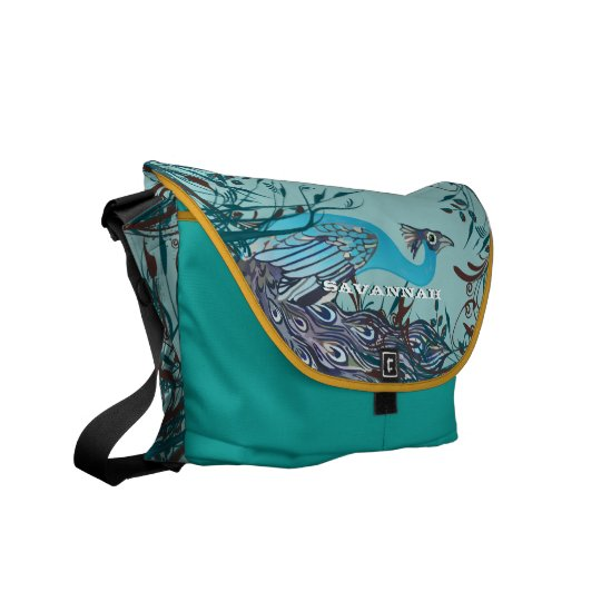 Vintage Art Nouveau Peacock You Choose Colors Messenger Bag