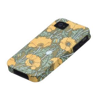 Vintage Art Nouveau, Poppy Flowers in Garden iPhone 4/4S Cover