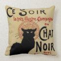 Vintage Art Nouveau Poster; Chat Noir throwpillow