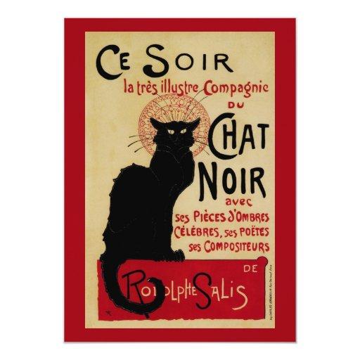 Vintage Art Nouveau Poster; Chat Noir Halloween 5x7 Paper Invitation Card