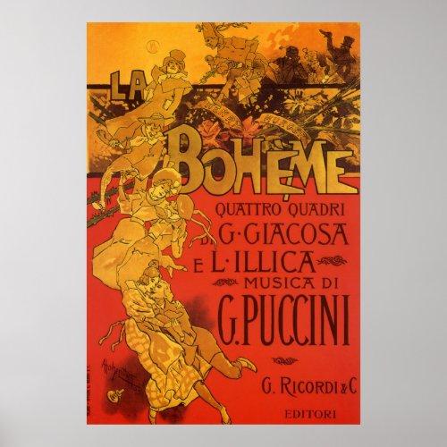 Vintage Art Nouveau Poster; La Bohème, 1896 posters