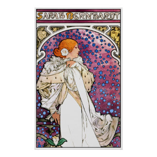 Vintage Art Nouveau Poster Print by Mucha (detail)